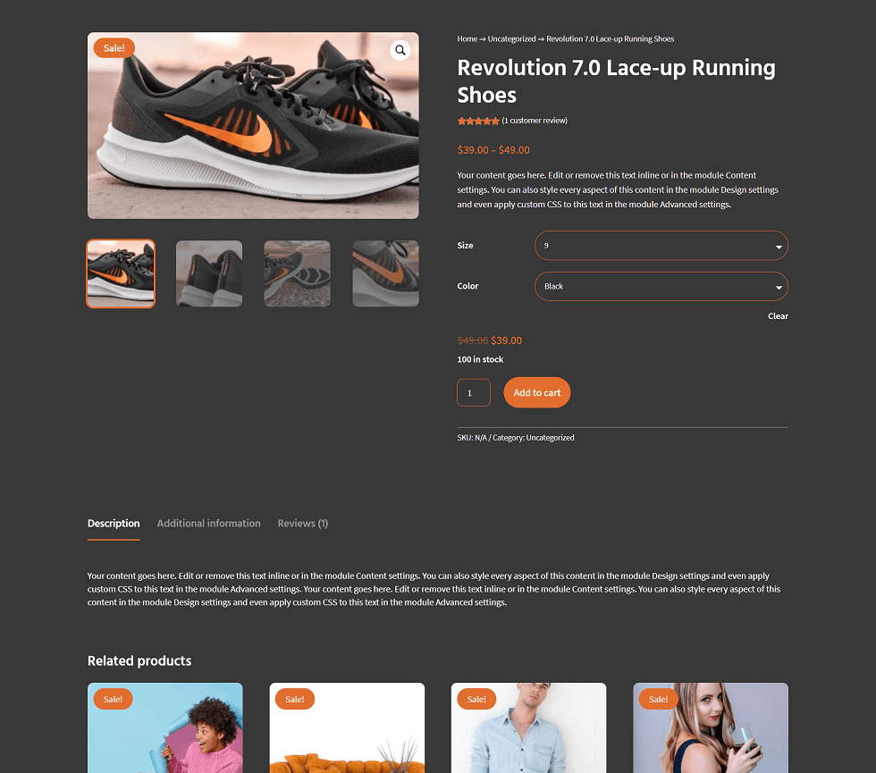 product page layout divi